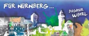 Nürnberg Skyline skizziert Batik Stil